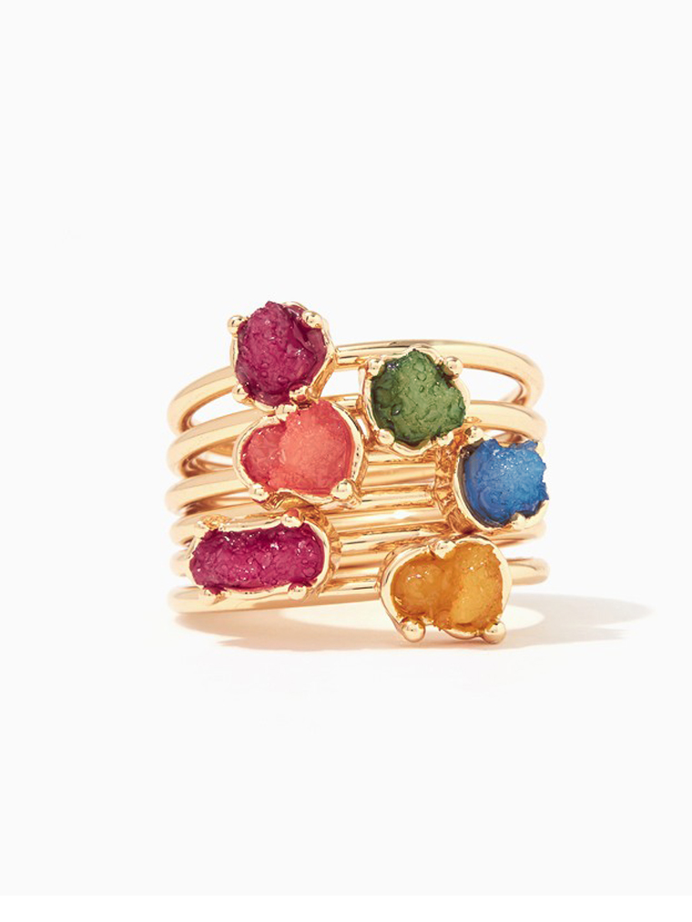 Riche Druzy Ring Set